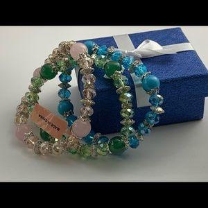Rose Quartz, Green aventurine, faceted glass bead